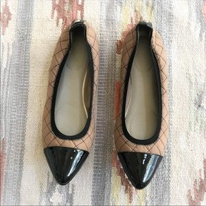 Anne Klein Sport Black Tan Quilted Pointed Flats